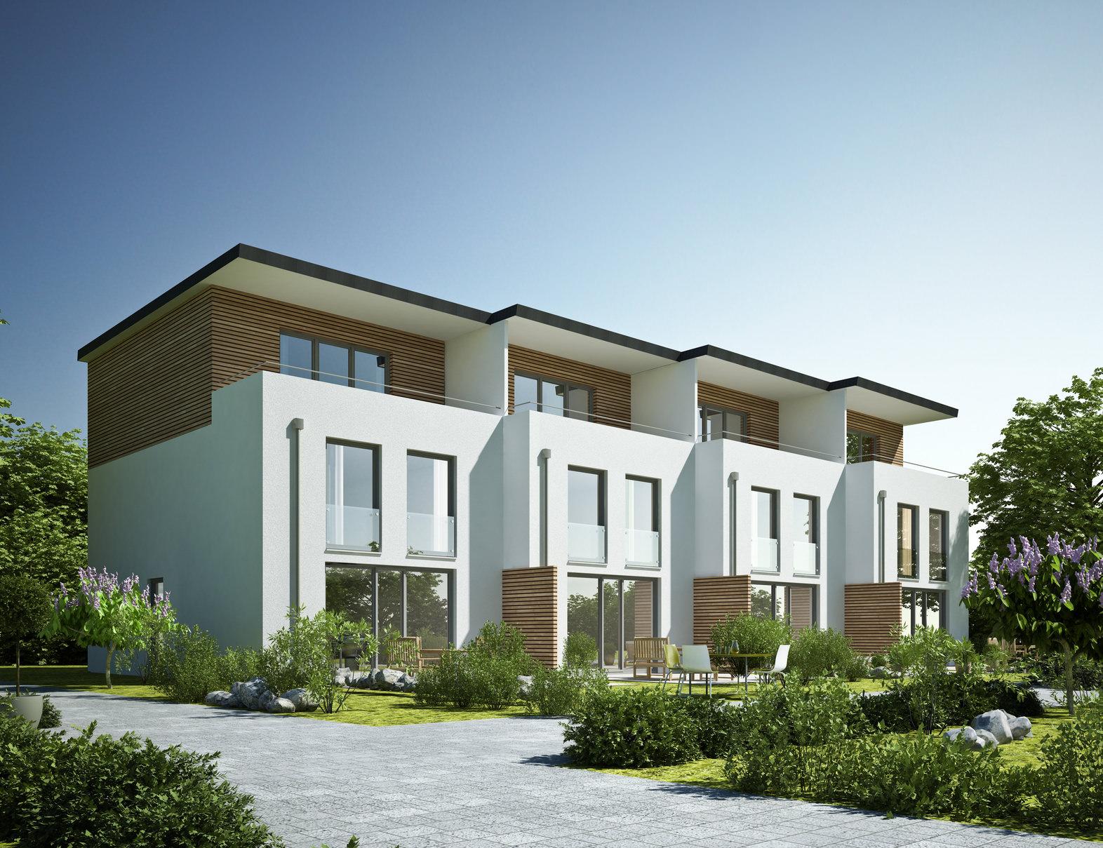 Mehrfamilienhaus Anlage in Reihenhaus Form